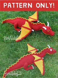 Crochet dragon toy / stuffie / softie amigurumi pattern.  A project you can definitely take a lot of pride in when you're finished. Will make a loveable gift for any kid (or dragon loving adult who is just a kid at heart!) www.briabby.com