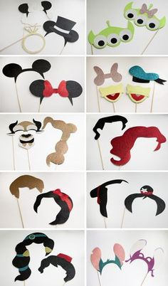Super cute Disney-inspired couples photo booth props. Perfect for any wedding! <3