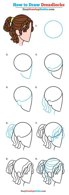 Learn How to Draw Dreadlocks: Really Easy Step-by-Step Drawing Tutorial for Kids and Beginners #dreadlocks #drawing #tutorial See the full tutorial at https://easydrawingguides.com/how-to-draw-dreadlocks-really-easy-drawing-tutorial/