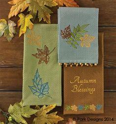 Three Leaves Embroidered Dishtowel
