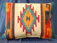 Southwest Zapotec Pillows -Hand Woven Love the Native American patterns, always have. Native American Baskets, Native American Patterns, Native American Design, Southwestern Decorating, Southwest Decor, Navajo Weaving, Hand Weaving, Wool Pillows, Throw Pillows