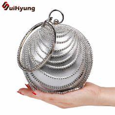Female Pearl Ball Shape Handbags Day Clutch Bling Diamond Party Evening Bags Wedding Women Rhinestones Clutch Small Purse Totes