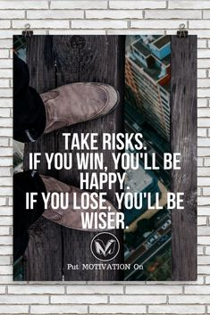 TAKE RISKS | Poster – PutMotivationOn Follow all our motivational and inspirational quotes. Follow the link to Get our Motivational and Inspirational Apparel and Home Décor. #quote #quotes #qotd #quoteoftheday #motivation #inspiredaily #inspiration #entrepreneurship #goals #dreams #hustle #grind #successquotes #businessquotes #lifestyle #success #fitness #businessman #businessWoman #Inspirational