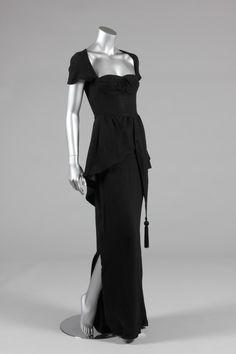 Biba black moss crepe evening gown, circa 1973-5