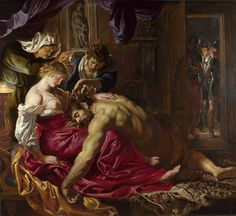 Samson and Delilah(1609-10) for the living room of Burgomaster Nicholaas Rockox (chairman of Harquebusiers); inspired by Adam Elsheimer; one of feet is truncated- does not depict essential extremity of giant - unlike other 2 paintings by R; colouring sensuous (more heavy-handed than Rubens?); drama - tension of what isn't happening - why in public - polit connotations?; Samson as man's fallen nature, seduced and betrayed; upper-left light source, flickering of candles, 'alive'