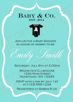 Personalized Personalized Tiffany Blue Pearl Baby Shower Invitations **Need them today? DIY Printing Available**
