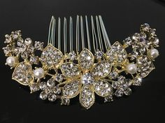 Gold tone hair comb bridal wedding crystal rhinestone hair accessories ha233935g