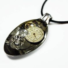 PIRATE OF STEAMPUNK Altered Art Watch Parts Spoon Pendant $24.99