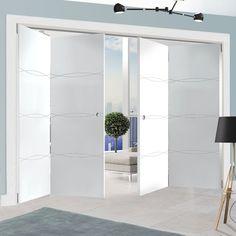 Thrufold Aster White 2+2 Folding Door.    #moderndoors #foldingdoors #interiordesign #doors #foldingdoors #thrufolddoors #thrufold