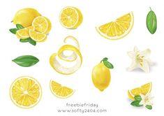 Freebie Friday – Zitronen Sticker zum selber ausdrucken Bullet Journal, Stickers, Recipes, Sticker, Decals