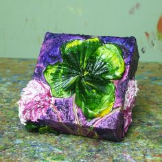 Shamrock 4x4 Inches Original Impasto Oil by OriginalsbyParis, $85.00