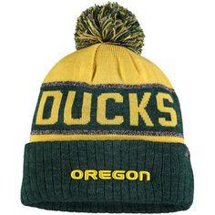 8843eac60de Top of the World Oregon Ducks Yellow Heather Green Below Zero Cuffed Pom  Knit Hat
