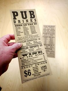 """From menu design blog Art of the Menu: """"Complemented by Wanted-poster typography, Pioneer Pub's menu copy is genuinely amusing. Unpretentious and fun, the restaurant welcomes both locals and visitors alike to pleasing entertainments and copious libations."""" #menu #typography"""