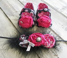Hot Pink and Black Flower Baby Shoes with matching headband Really need a baby... PS-- these girls do the best stuff!!  Love everything they make :)