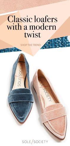 Bring a modern appeal to your look with the Edie loafer in blue and pink velvet. Style these flats with fall dresses or jeans! Shop now at Sole Society!