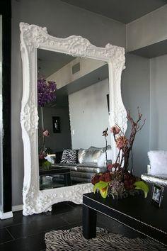 BIG mirror! Drama in small spaces! Big Floor Mirrors, Mirror Wall Tiles, Diy Mirror, Vanity Mirrors, Living Room Mirrors, Bedroom Turned Closet, White Wall Mirrors, Decorating Bathrooms, Dark Walls