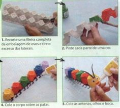 DIY toy from egg box Kids Crafts, Projects For Kids, Diy For Kids, Diy And Crafts, Arts And Crafts, Spring Activities, Activities For Kids, Chenille, Diy Toys