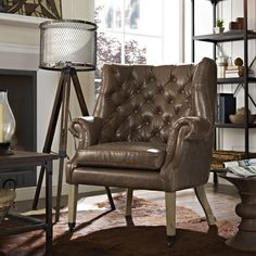 Enjoy the Modway Chart chair on sale now. This tufted brown vinyl lounge chair for the home living room or office reception area is luxurious, comfortable, and ships free. Small Living Room Design, Home Living Room, Interior Design Living Room, Modern Furniture, Home Furniture, Furniture Ideas, Leather Wingback Chair, Leather Lounge, Single Chair