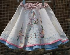 Whirly Twirly Skirt - Upcycled Vintage - Shabby Chic - OOAK Whimsical Fun - Size XS - Small but can be made larger