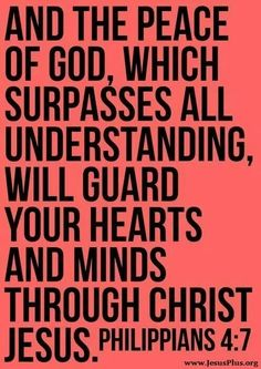 "spiritualinspiration: """"And the peace of God, which passes all understanding, shall keep your hearts and minds through Christ Jesus"" (Philippians KJ). Many people carry anxiety and worry about. Peace Of God, Word Of God, Bible Scriptures, Bible Quotes, Godly Qoutes, Scripture Verses, Philippians 4 7, Guard Your Heart, Favorite Bible Verses"