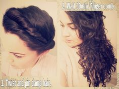 Heatless curles. After shower, apply hair styling creme or hair anti-frizz serum from root top and sparingly at roots. Make deep side part, twist all the way around into itself, bobby pinning in place. After 15-30 minutes, release all hair, lightly finger comb and let dry naturally. Add more shine if needed to tips. No heat needed!