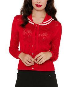 Look what I found on #zulily! Red & White Anchor Tie-Front Cardigan #zulilyfinds