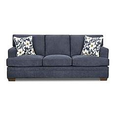 600.00  Simmons Upholstery Midnight Blue Chicklet Transitional Sofa