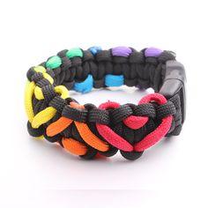 ... LGBT PRIDE themed Rainbow Black Heart weave Paracord Bracelets ...