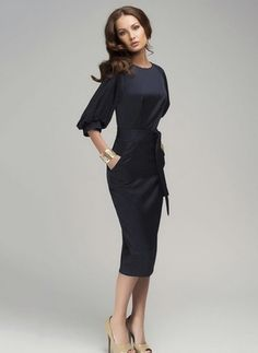 Polyester Solid 1012421/1012421 Sleeves Mid-Calf Elegant Dresses (1012421) @ floryday.com