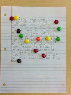 Pinner said:  After my students write a piece I have them leave it on their desks when they go to lunch or special area classes. I place a Skittle on each correct punctuation mark (and I usually put one or two one if they indent a paragraph).  Let me tell