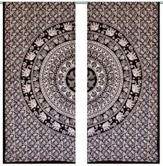 2 PC Window Decoration Curtain Elephant Mandala Tab Top Curtains Indian Tapestry