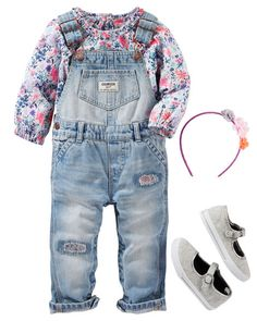 Printed patchwork details on denim pair perfectly with these pretty florals. With a headband and mary janes, she's ready to play.