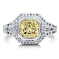 BERRICLE 925 SILVER BEZEL PRINCESS CANARY CZ TWIN SHANK RING SZ 8 r552-8