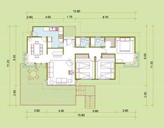 plano cabaña Small House Plans, Sweet Home, Floor Plans, Layout, How To Plan, House Template, Arquitetura, Modern Home Plans, Tiny House Plans
