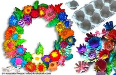 Egg carton wreath, or make individual flowers using pipe cleaners. Adorable for Mother's Day!
