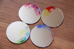 DIY WATERCOLOR MIRRORS, definitely want to try this with the leftover mirrors from my centerpieces even though they're a lot bigger than these tiny ones. Home Crafts, Fun Crafts, Diy Home Decor, Diy And Crafts, Room Decor, Mirror Crafts, Diy Mirror, Mirror Ideas, Projects To Try