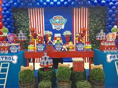 Red stripes and blue background Paw Patrol Cake, Paw Patrol Party, Baby Boy Birthday, Boy Birthday Parties, Birthday Ideas, Paw Patrol Birthday Decorations, Cumple Paw Patrol, Party Pops, Party Themes