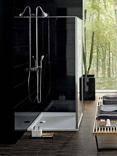 Bianco by Pozzi-Ginori | #bathroom #shower #modern #home #wood #black