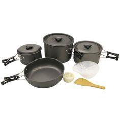 Set of Hot Sale 4-5 Person Outdoor Camping Picnic Cookware Frying Pan Aluminium Oxide Saucepan #women, #men, #hats, #watches, #belts