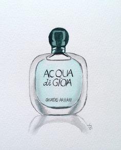 Original Watercolor Giorgio Armani Acqua di by ColorOfChlorophyll