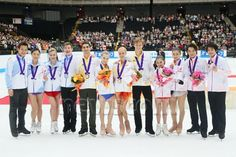 (L-R) Team North Amerika, Team Europe, Team Japan, OCTOBER 4, 2014 - Figure Skating : Japan Open 2014 Victory ceremony at Saitama Super Arena, Saitama, Japan. (Photo by Yohei Osada/AFLO SPORT) (512×341)