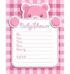 Pink bear baby shower card vector on VectorStock®