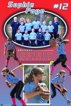 "Thanks to Shane Page for choosing us to design a personalized softball poster for his daughter, Sophie, that plays softball for the Southern Spirit! The customized softball design features 5 photos and a team shot in the personalized poster.  Good luck this season Sophie and remember ""short term sacrifice for long term gain!"""