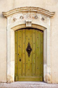 Green front door in Gordes, Provence France. © Brian Jannsen Photography