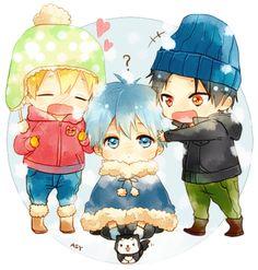 kuroko no basket adorable chibis X3 kuroko, kise, and takao ready for the winter ;3