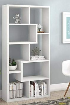 Book Cases Shelves-Bookself - Etagere White Wood with Eight Geometric Shelves - Display Space to Showcase Your Books Bookshelves In Living Room, Cool Bookshelves, Bookshelf Design, Wall Shelves Design, Unique Wall Shelves, Bookcase, Living Room Partition Design, Room Partition Designs, Living Room Tv Unit Designs