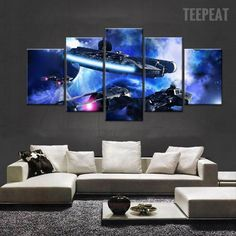 Star Wars: Millenium Falcon V2 Painting - 5 Piece Canvas-Canvas-TEEPEAT  #prints #printable #painting #empireprints #teepeat