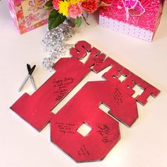 Sweet 16 Party Sign In Customizable Guest Book by Slippin Southern