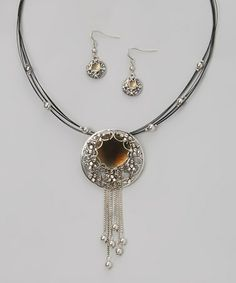 This Silver Not It Pendant Necklace & Drop Earrings is perfect! #zulilyfinds