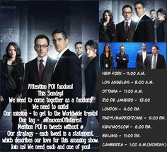 Several groups of fans will attempt a new event tomorrow.Join all of us #PersonOfInterest 13IsNotEnough (1/2)